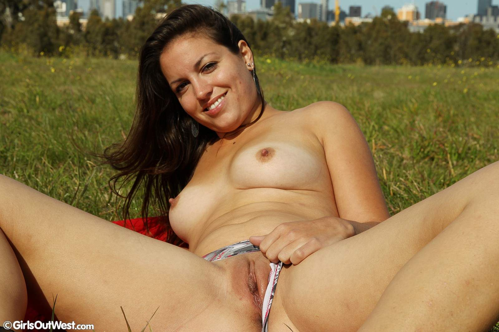 brunette outdoors Nude