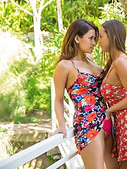 Perfect Outdoor Lesbians Are Passionately Kissing And Posing